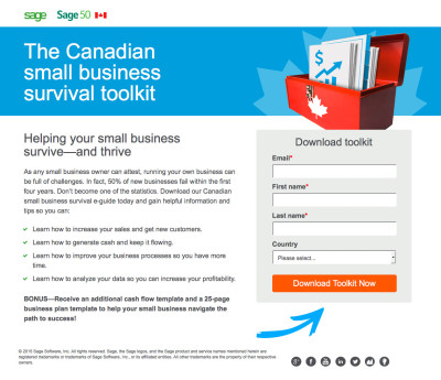 The Canadian Small Business Survival Toolkit Landing Page