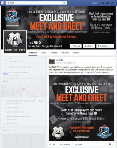 1st RND FC Edmonton Event Facebook Cover Photo