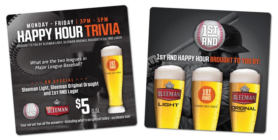 1st RND - Happy Hour Trivia Coasters - Baseball