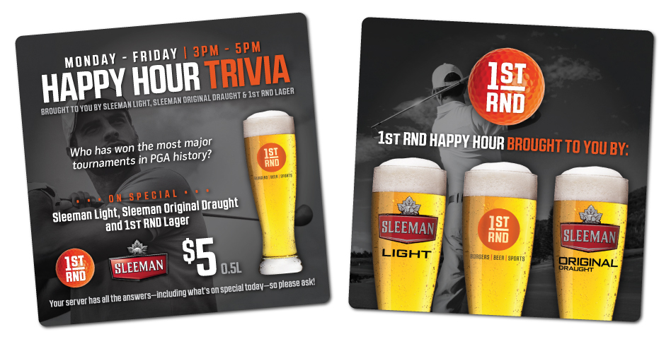 1st RND - Happy Hour Trivia Coasters - Golf