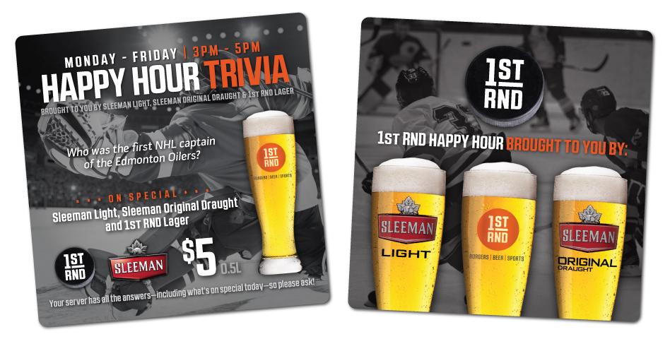 1st RND - Happy Hour Trivia Coasters - Hockey
