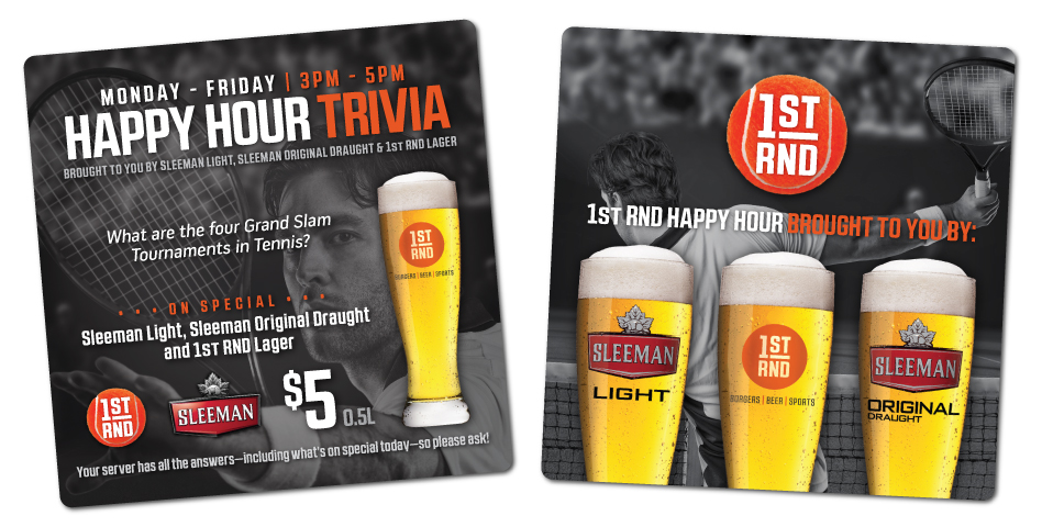 1st RND - Happy Hour Trivia Coasters - Tennis