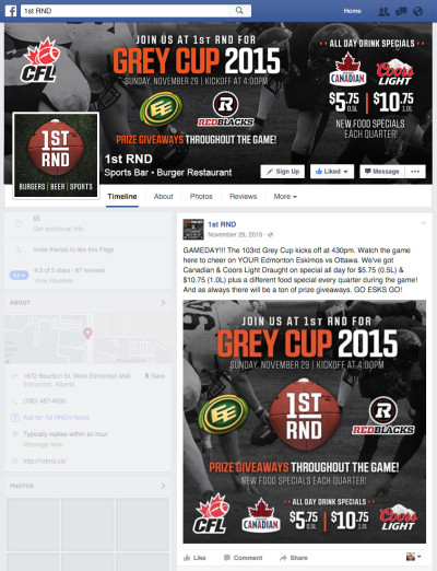 1st RND Grey Cup 2015 Facebook Graphics