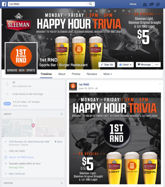 1st RND Happy Hour Facebook Graphics - Hockey