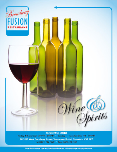 Broadway Fusion Wine List 1