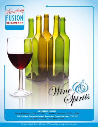 Broadway Fusion Wine List 1
