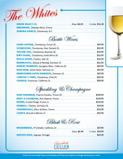 Broadway Fusion Wine List 2