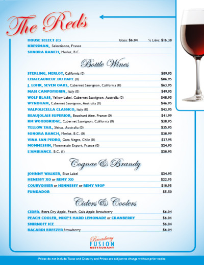 Broadway Fusion Wine List 3