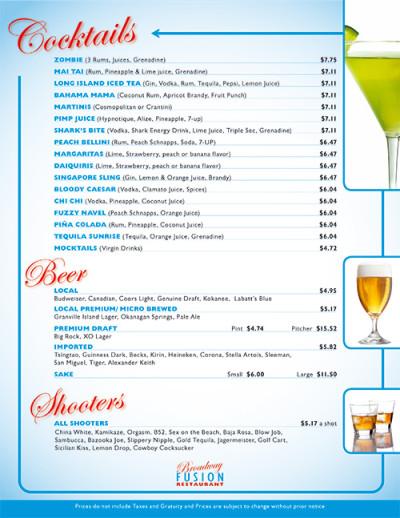 Broadway Fusion Wine List 4