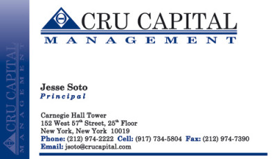 Cru Capital Management Business Cards - Front