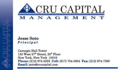 Cru Capital Management Business Cards - Front