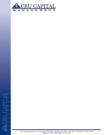 Cru Capital Management Letterhead