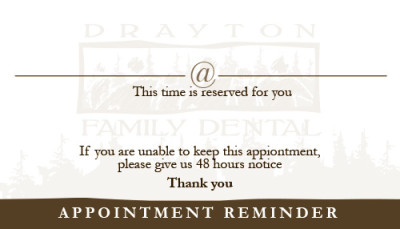 Drayton Family Dental Business Card - Back