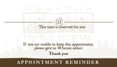 Drayton Family Dental Business Card - Back