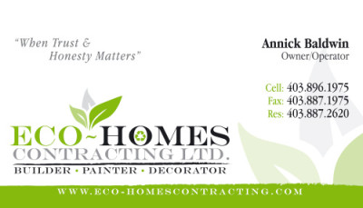 Eco-Homes Contracting Business Cards