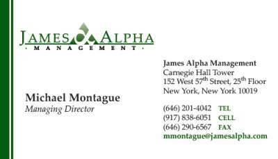 James Alpha Management Business Card