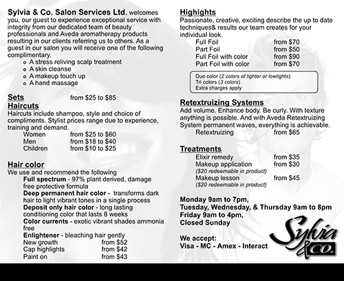 Sylvia & Co. Menu Card - Back