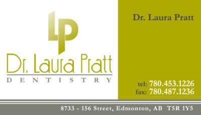 Dr. Laura Pratt Dentistry Business Cards