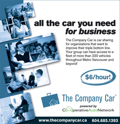 The Company Car ad in Green Space BC magazine