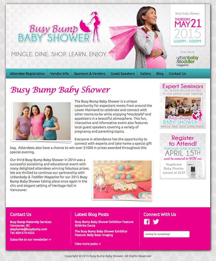 Busy Bump Baby Shower Website