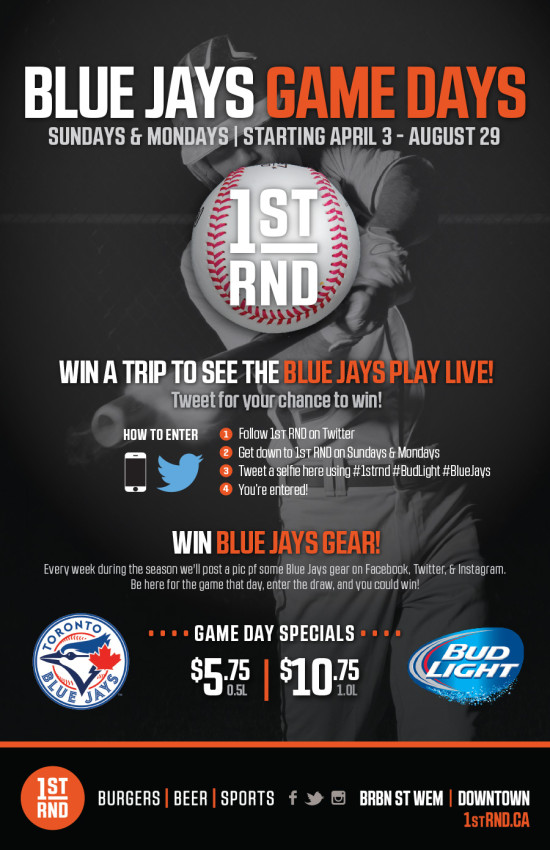 1st RND - Blue Jays Game Days 2016 Poster - 11x17