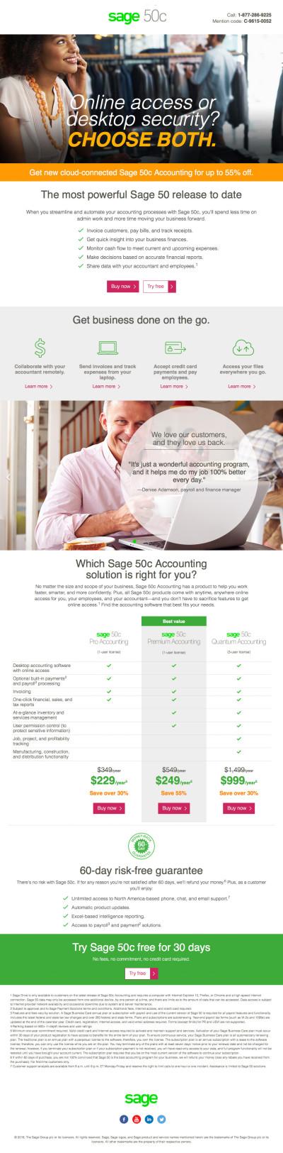 Sage 50c US Branded Offer C Landing Page