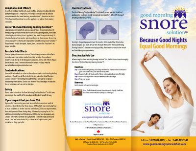 Good Morning Snore Solution Brochure - Canada (English)