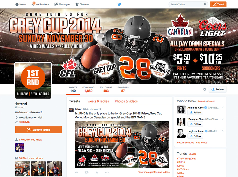 CFL - Grey Cup 2014 - Twitter Banners