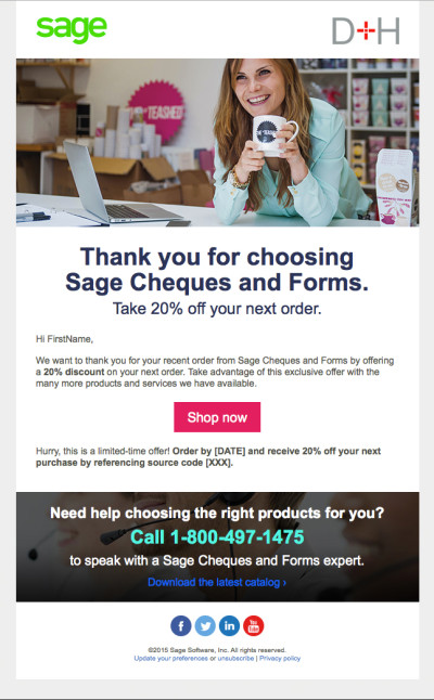 Sage Cheques and Forms - Welcome Email 1