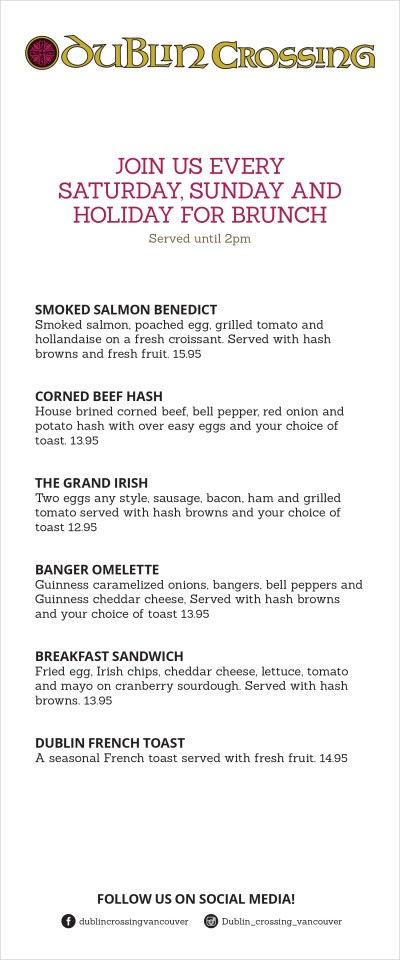 Dublin Crossing Irish Pub Menu - Breakfast