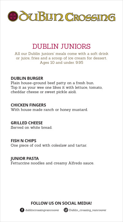 Dublin Crossing Irish Pub Menu - Kids