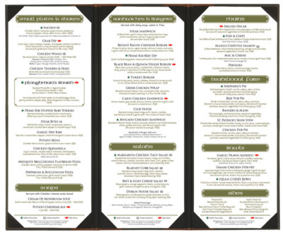 Dublin Crossing Surrey - Fall 2016 Food Menu