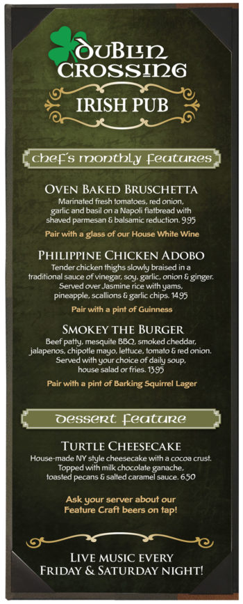 Dublin Crossing Surrey - November Feature Menu