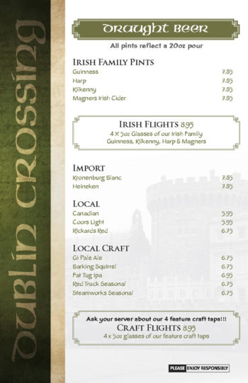 Dublin Crossing Surrey - Fall 2016 Drink Menu - Page 3