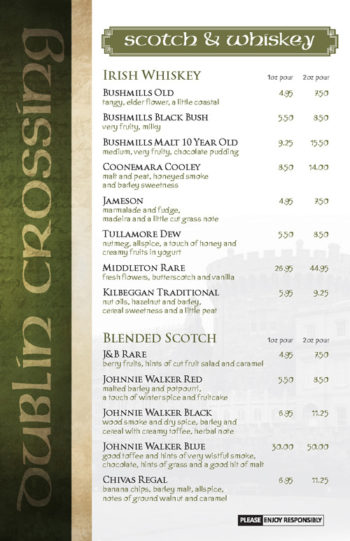 Dublin Crossing Surrey - Fall 2016 Drink Menu - Page 6