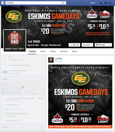 Eskimos Game Days 2016 - Facebook Graphics