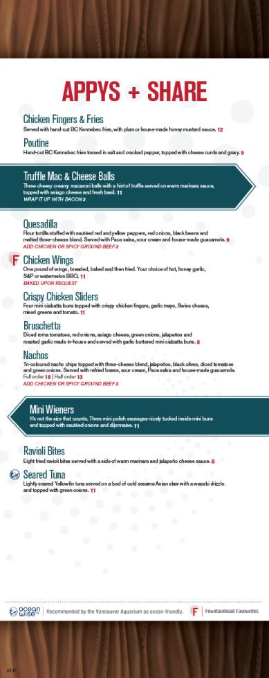 The Fountainhead Pub - Food Menu 1