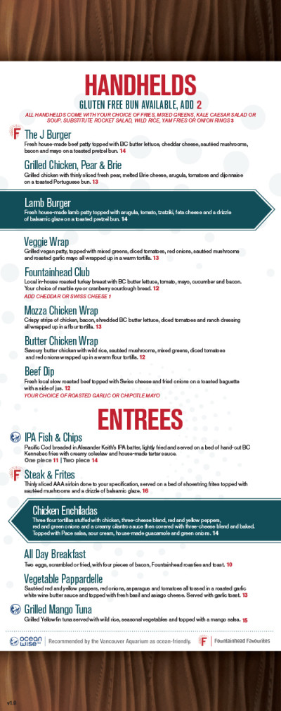 The Fountainhead Pub - Food Menu 2