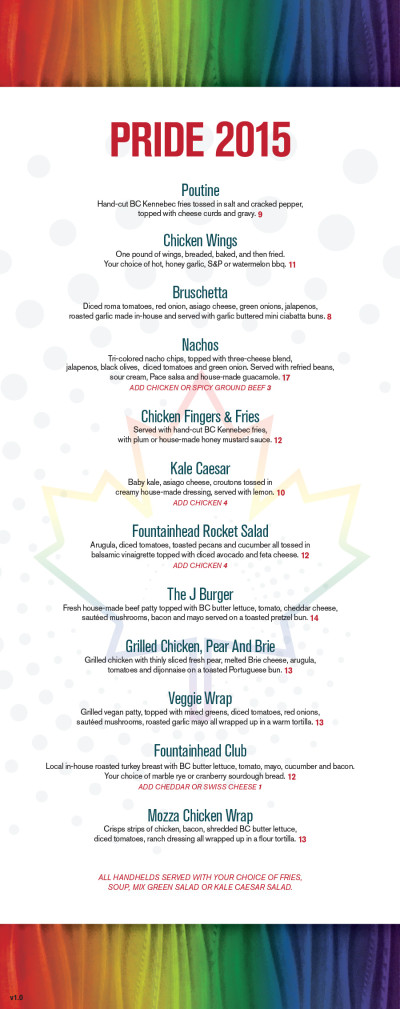 Fountainhead Pub Pride Menu 1