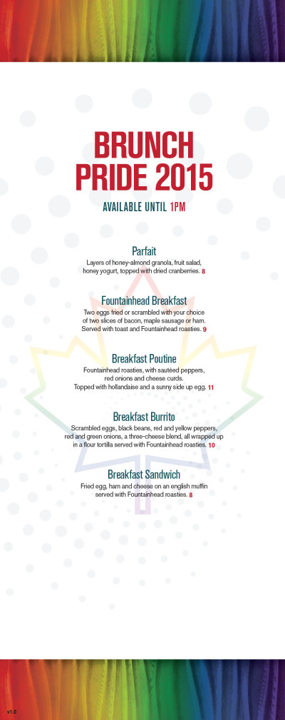 Fountainhead Pub Pride Menu 2