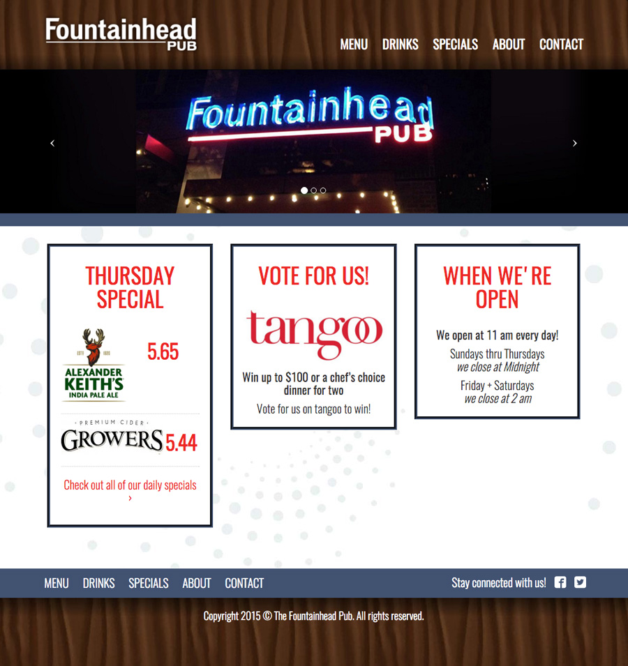 The Fountainhead Pub Website - Homepage