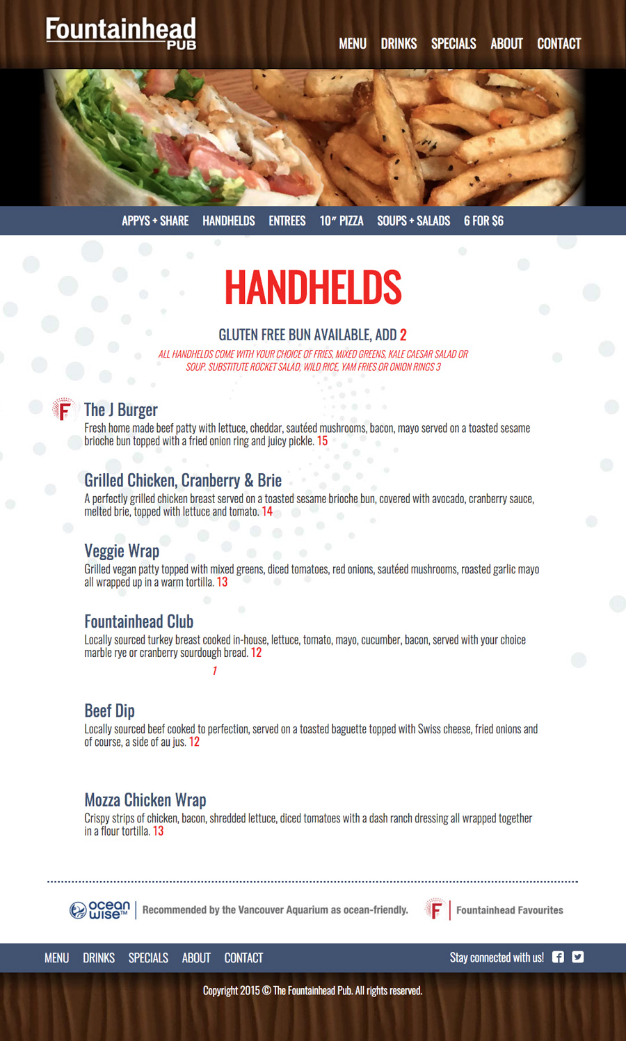 The Fountainhead Pub Website - Food Menu Item
