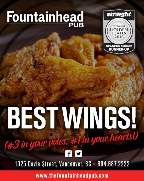 The Fountainhead Pub - Georgia Straight Golden Plates Winner Ad