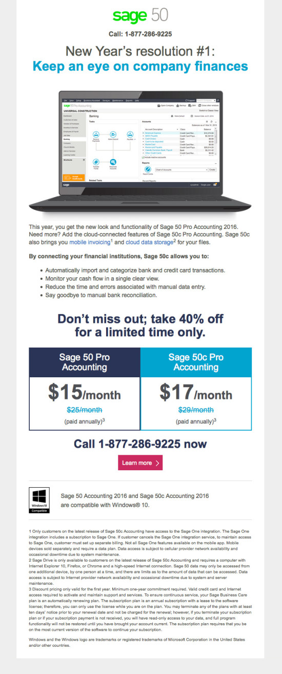 Sage 50c Upgrade Campaign - January Promo - Email 2
