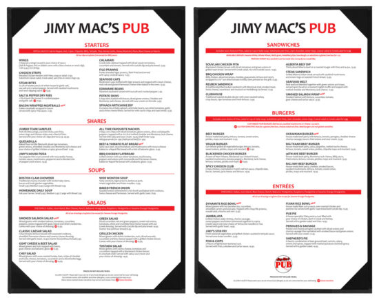 Jimy Mac's Pub - Fall 2016 Food Menu