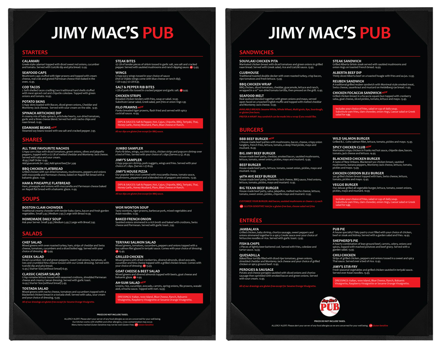 Jimy Mac's Pub Menu