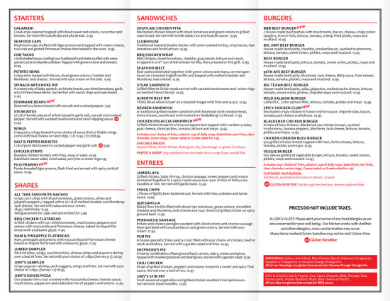 Jimy Macs Pub - To Go Menu - Inside