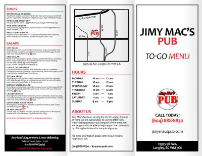 Jimy Macs Pub - To Go Menu - Outside