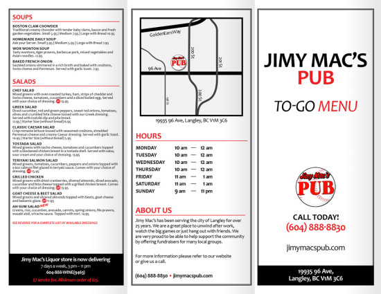 Jimy Macs Pub - To Go Menu - Outside