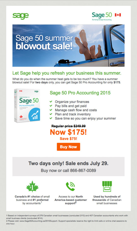 Sage 50 Canada July Promo Email